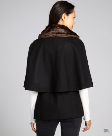 Betsey Johnson black wool-blend belted faux fur collar capelet