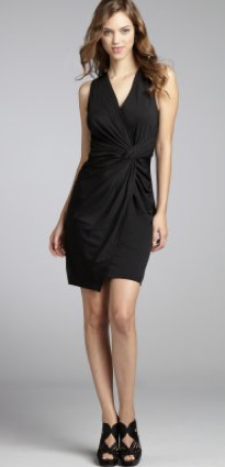 Wyatt black stretch jersey knit pleated knot front 'Lucia' dress