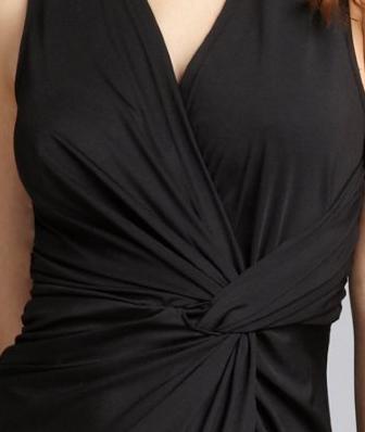 Wyatt black stretch jersey knit pleated knot front 'Lucia' dress